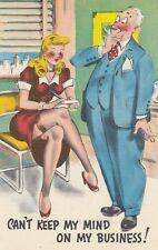 Sexist Man Comic postcard Sexy Lady cartoon w/  Boss