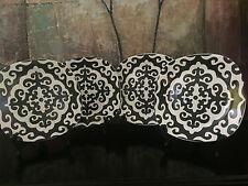 "4 Rare Roscher & Co RRM8 Square Dinner Plates Gothic Black White Scroll 10"""