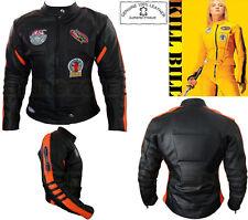 Womens KILL BILL Style Noir Orange Ce PRO Moto / veste cuir moto