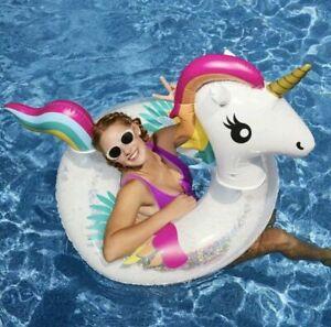 "Unicorn Pool Float Inflatable Swimming Raft Tube Pink Glitter 35 X 29"" Fast Ship"
