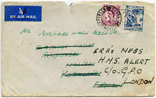 YUGOSLAVIA 1957 FORWARDED in GB + 6d WILDING AIRMAIL to SHIP HMS ALERT