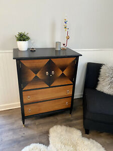 Mid Century Modern Style Armoire Vintage Antique Refinished Black Gold Wood