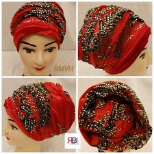 Women's Luxury Stretchy Velvet & Lacy Stone Turban/Head Wrap