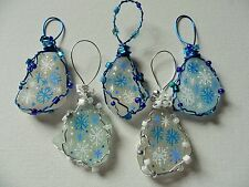 Set 5 blue white snowflakes - Hand painted sea glass Christmas tree decorations