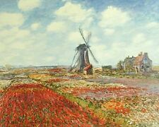 CLAUDE MONET- TULIPS IN HOLLAND- ART ON CANVAS -UNSTRETCHED-  IMPRESSIONISM