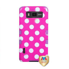 LG Optimus Showtime L86c Rubber IMPACT TUFF HYBRID Case Phone Cover Pink Dots