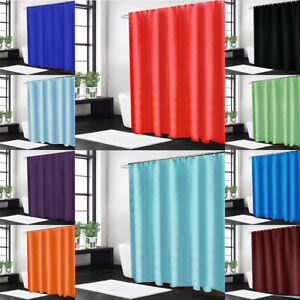 Plain Shower Curtain Waterproof Polyester Fabric Bathroom Shower Curtains