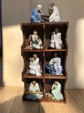 7 Vintage Shiwan Mudmen Figure Lot, Hand Sculpted, Hand Glazed, with Shelf