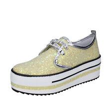 Damen schuhe PATRIZIA PEPE 40 EU sneakers gelb glitter BR630-40