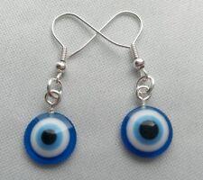 Una COPPIA DI DONNA BLU Evil Eye la Cabala Lucky Charm Orecchini. tradizione ebraica