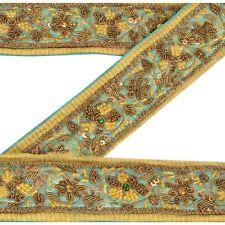 Sanskriti Vintage Sari Border Antique Hand Beaded 1 YD Indian Trim Décor Ribbon