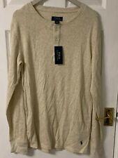 New Ralph Lauren Polo Lounge Sleepwear Long Sleeve Top, Cream Beige, Large