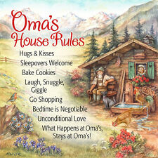 German Gift Oma House Rules Wall Plaque