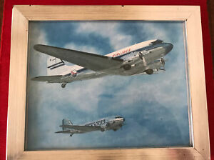 Piedmont Airlines Douglas DC-3's painting framed