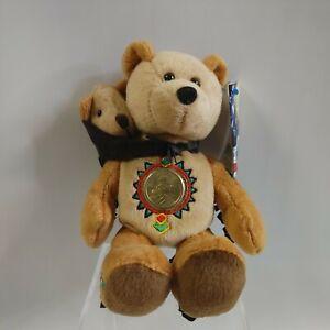 Coin Bear Limited Treasures 2002 Sacagawea and Pomp Dollar Bears with coin