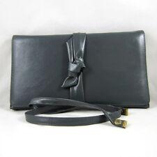 Vintage Gray Smooth Leather Clutch Bow Design Removable Shoulder Strap