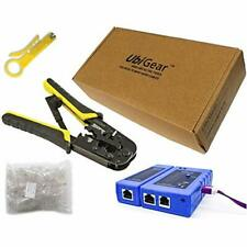 Cable Tester +Crimp Crimper +100 RJ45 CAT5e Connector Plug Network Tool Kits