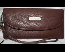 BAGGALLINI LEATHER WALLET Brown - Pink Interior - Large WRISTLET Wrist Strap NWT