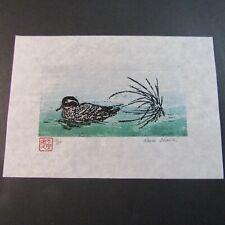Duck Pond grass woodcut Woodblock Print Moku Hanga Japanese Washi paper signed