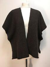 Eskandar brown boucle wool cashmere shrug open cardigan shawl 12 14 16