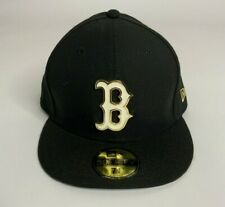 Boston Red Sox New Era 59Fifty Black Fitted Hat Cap Gold Metal Badge Mens 7 3/8