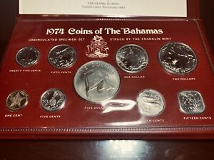 1974 COINS OF THE BAHAMAS UNCIRCULATED SPECIMEN SET-9 COINS