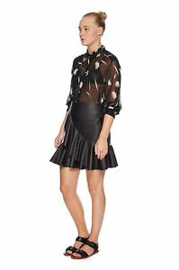 Lover the Label Virgo Flounce Skirt Faux Leather Size 12 Black NWT
