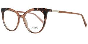 GUESS GU3031 041 Crystal Brown Cat Eye Plastic Eyeglasses Frame 52-17-135 3031