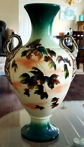 HUGE ANTIQUE SATSUMA HAND PAINTED LEAF DESIGN VASE WITH GOOSE NECK HANDLES