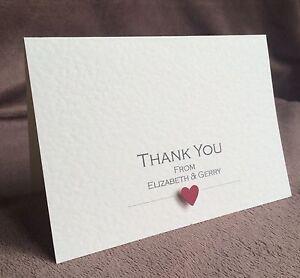 10 x Wedding Thank You Cards (Personalised & Handmade) Elizabeth