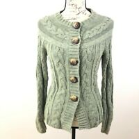 Eddie Bauer Cardigan Cable Knit Long Sleeves Sweater Green Top XS