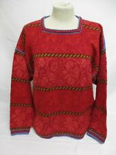 Fairisle Sweater, Oleana Square Neck Jumper, Made in Norway, Wool, Red, 55cm W