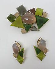 Haute Couture Philippe Ferrandis Quartz & Bohemian glass Brooch/Pendant Earrings
