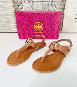 ❇️ Tory Burch Claire Flat Thong Sandal Size 7.5 Royal Tan Patent Leather Veg