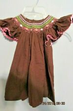 HAND SMOCKED Dress Pink White Rosebuds   Brown Fabric SZ 2T Pink Ric Rac