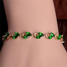 womens green crystal leaf 7 inch bangle bracelet 14k gold plated