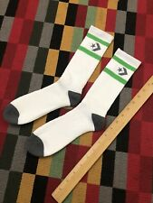 Vintage NOS 80s ATHLETIC TUBE SOCKS PAIR Mens CONVERSE CONZ White Grey Green