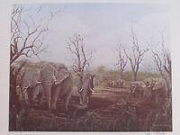 "Vintage John Le Roi Sheffer Herd Elephants Signed Wall Art Print 1974 25"" x 19"""