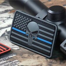 3D PVC Punisher United States Flag Blue Line Tactical Airsoft Morale Patch Grey