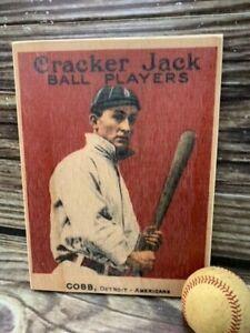 12 inch tall Cracker Jack Ty Cobb  Wooden Baseball Card ! Sports Room Decor