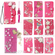3D Bling Diamonds Leather Wallet Phone Cases Rose Covers With 2 Straps For Nokia