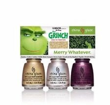 MERRY WHATEVER CHINA GLAZE GRINCH 3 MINI SET LUKEWARM WISHES YOU'RE A MEAN ONE