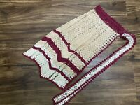 Vintage Women's Crochet Lace Half Apron Kitchen Handmade Burgundy White Tan
