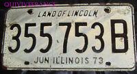 PLAQUE IMMATRICULATION USA ILLINOIS 1973
