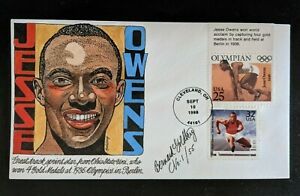 1998 Jesse Owens Bernard Goldberg Hand Painted Signed First Day Cover 1/55