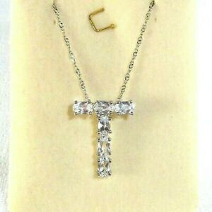"""1.85ct Natural White Topaz Italy 925 Sterling Silver """"T"""" Pendant & Chain"""