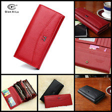 Womens Wallet Lady Genuine Leather Clutch Trifold Purse Holder Zip Card Red 2017