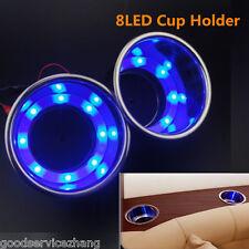 2pcs 8LED Blue LED Stainless Steel Cup Drink Holder Marine Boat Car Camper Sea