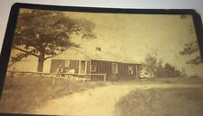 """Rare Antique Victorian American """"Adams Ferry"""" Doc House! Dog! US Cabinet Photo!"""