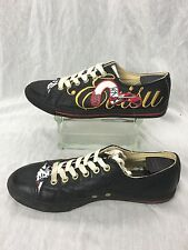 "* Evisu * Vintage Gold, Red, and Black Leather Classic ""BLING"" Sneakers 46/12"